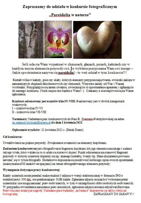 Konkurs fotograficzny Pareidolia w naturze