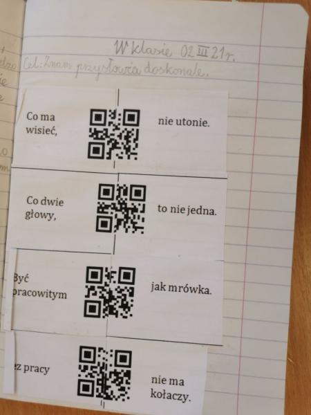 Kody QR na zajęciach w klasie IIIB